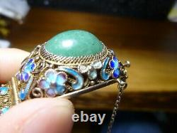 Antique Chinese Export Argent Or Gilt Jade Bracelet En Émail