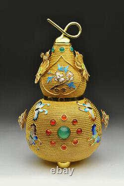 Antique Chinese Export Gold Gilt Sterling Argent Émail Tea Caddy