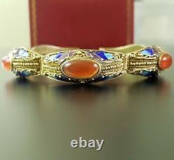 Antique Chinese Export Jaune Or Gilt Carnelian 925 Bracelet En Argent Sterling