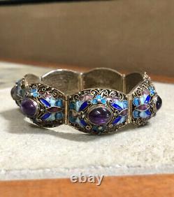 Antique Chinese Export Or Gilt Argent Émail Améthyste Lien Bracelet Bangle