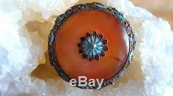 Antique Chinese Export Vermeil Émail Filigrane Sculpté Cornaline Pin Argent