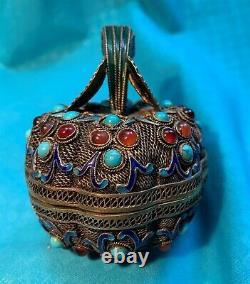 Antique Chinese Or Gilt Argent Filigrane Jeweled Enamel Figural Box