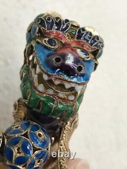 Antique Chinese Silver Filigre Enamel Foo Dog Figurine Avec Ballgold Wash45gr 3