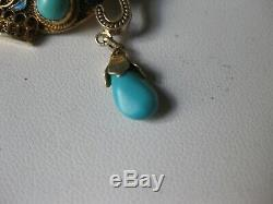 Antique Chinese Vermeil Pin Broche Teepot Naturel Corail & Turquoises