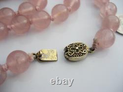 Antique Chinois 10mm Rose Quartz Collier Perlé Or Fermoir Filipree En Argent 25