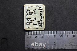Antique Chinois 14k Or Et La Main Naturelle Sculpté Celadon Jade Pin/broche/pendentif