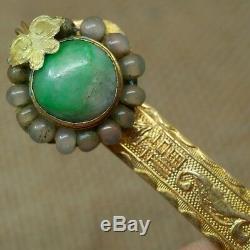 Antique Chinois Argent Doré Épingle À Cheveux Avec Emerald Jade Jadéite-hp-004