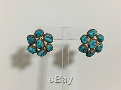 Antique Chinois Argent Doré Turquoise Stoned Boucles D'oreilles 13,8 Grammes