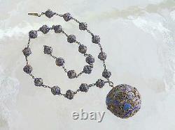 Antique Chinois Argent Gilt Enamel Filigre Fish 23 Collier De Perles 29mm