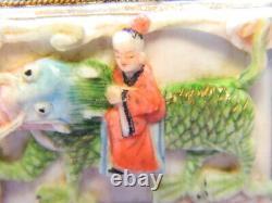 Antique Chinois Argent Gilt Filigree Carved Dragon Cuff Bracelet 7 En