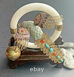 Antique Chinois Argent Gilt Filigree Émail Oiseau Turquoise Coral Jade Bangle
