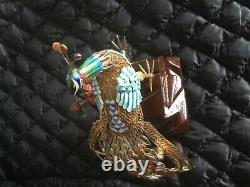 Antique Chinois Argent Gilt Filigree Émail Peacock Bird Sculpture