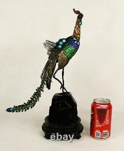 Antique Chinois Argent Gilt Filigree Émail Turquoise Peacock Bird Sculpture