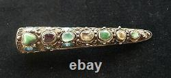 Antique Chinois Argent Or Filligree Finger Nail Guard Broche Avec Pierres Précieuses