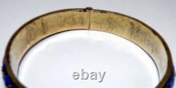 Antique Chinois Argent Or Gilt Émail Hinged Bangle Bracelet Signé Lire