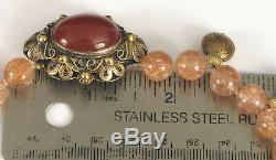 Antique Chinois Argent Pendentif Cornaline Quartz Rutile Et 14k Collier En Or