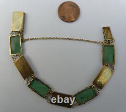 Antique Chinois Argent Vert Jade Jadeite Bracelet Gold Wash Caractères