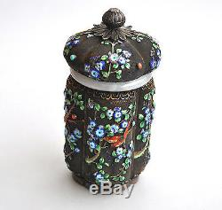 Antique Chinois China Export Argent Massif Émail Tea Caddy Or Jade 1900