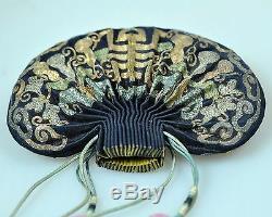 Antique Chinois Chine Qing Broderie De Soie D'or D'argent Pouch Bourse Kesi