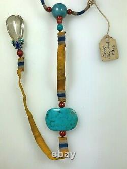 Antique Chinois Chine Qing Court Collier Gilt Silver Gemstone1900