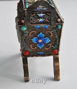 Antique Chinois Chine Qing D'argent En Émail Gilt Jade Encensoir Encensoir 1900