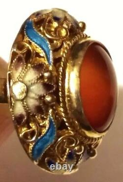 Antique Chinois Clinisonne Qing Ring Or Sterling Argent Filigree Émail Estate