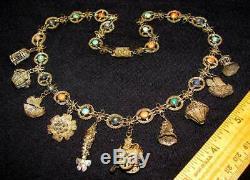 Antique Chinois D'exportation Corail Turquoise Lapis Lazuli Argent Doré Collier Charme