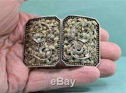 Antique Chinois D'exportation D'argent Doré Filigrané Boucle De Ceinture Hongxing Co C 1900