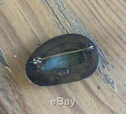 Antique Chinois D'exportation D'or En Argent Sterling Émail Sculpté Jade Pierre Broche