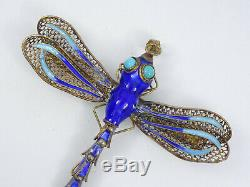 Antique Chinois D'exportation Filigrane Sterling Gilt Email Articulée Dragonfly Pin