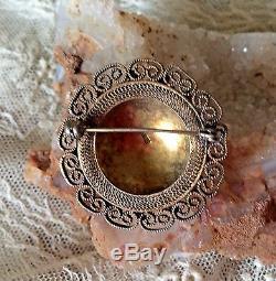 Antique Chinois D'exportation Lavage D'or Argent Jade Filigrane Améthyste Broche