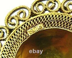 Antique Chinois Doré Filigree Sterling Silver Turquoise Brooch Boucles D'oreilles Ensemble