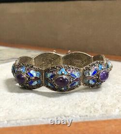 Antique Chinois Export Gold Gilt Silver Enamel Amethyst Link Bangle Bracelet