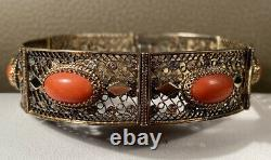 Antique Chinois Export Red Coral 800 Silver Gold Wash Vermeil Filigree Bracelet