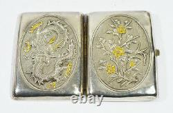 Antique Chinois Export Silver Gigarette Case Box Card Inlaid Gold Dragon