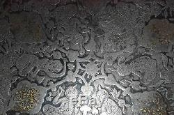 Antique Chinois Fer Plateau Or & Argent Marqueté Indien Islamique Persane