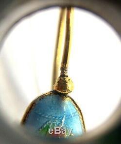 Antique Chinois Gilded Sterling Argent Vermeil Boucles D'oreilles En Émail Fleur