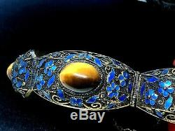 Antique Chinois Gilt Argent Sterling Filligree Émail Tiger Eye Bracelet
