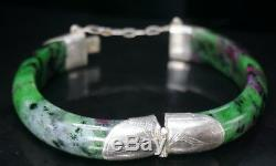 Antique Chinois Gilt Argent Sterling Pierre Naturelle Grade A Bracelet 62 MM