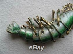 Antique Chinois Gilt D'argent En Émail Rare Crevettes Articulé Pendentif Vert