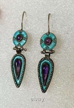 Antique Chinois Gilt Enamel Turquoise Améthyste Sterling Boucles D'oreilles Dangle Argent Sterling