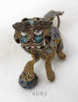 Antique Chinois Gilt Filigrane D'argent En Émail Foo Dog Lion Articulé Head Figure