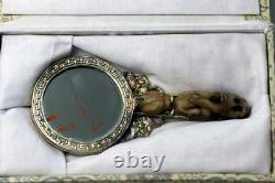 Antique Chinois Gilt Silver Mirror W. Jade Plaque & Dragon Hook Handle