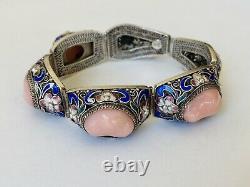 Antique Chinois Gilt Sterling Silver Filigree Enamel Pink Coral Link Bracelet
