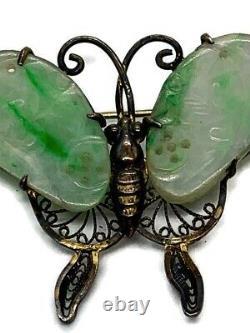 Antique Chinois Jadeite Broche Papillon Épingle Gilt Argent Filigere Rares Années 1930