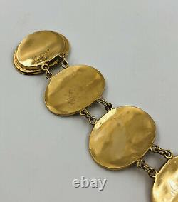 Antique Chinois Lee Yee Hing Export Gilt Silver Caractère Sylbol Link Bracelet