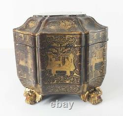 Antique Chinois Noir Gilt Argent Or Laqué Thé Caddy Boîte À Coudre Pieds De Chauve-souris