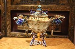 Antique Chinois Or Gilt Argent 925 Filigrane Dragon Émail Jade Bowl