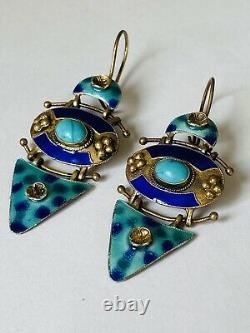 Antique Chinois Or Gilt Enamel Bleu Turquoise Sterling Argent Boucles D'oreilles Dangle