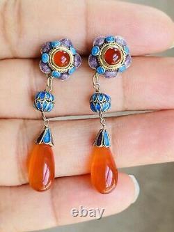 Antique Chinois Or Gilt Enamel Sterling Argent Boucles D'oreilles Dangle Carnelian